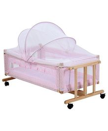 Fab N Funky Wooden Swing Cradle With Mosquito Net  - Flower Print Pink
