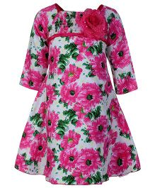 Softouch Pink Full Sleeves Floral Print Frock - Flower Applique