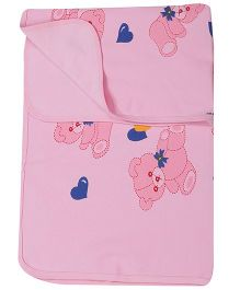 Child World Heart Print Pink Baby Cotton Blanket - Pink
