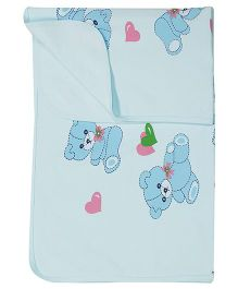 Child World Heart Print Blue Baby Blanket - 90 x 77 cm