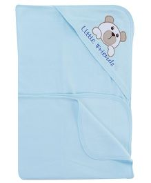 Child World Blue Hooded Blanket Dog Patch - 78 x 78 cm