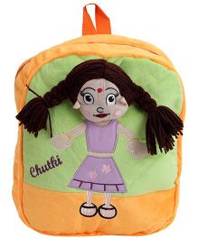 Dimpy Stuff Chutki Backpack Orange N Green - Upto 14 Inches