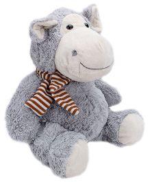 Play N Pets Grey Sitting Hippo Soft Toy - 35 Cm