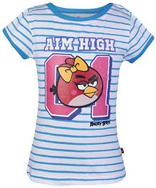 Angry Birds Blue Half Sleeves Stripes Print T Shirt