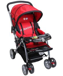 Fab N Funky Stroller with Storage Basket and Snack Tray - Red N Black