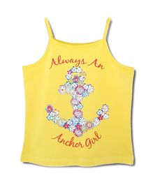 Beebay Spaghetti T Shirt Yellow - Anchor Print