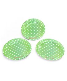 Karmallys Polka Dots Print Paper Plates Green - Pack of 10