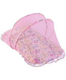 Babyhug Animal Print Jumbo Frilled Bedding Set With Mosquito Net -  Pink
