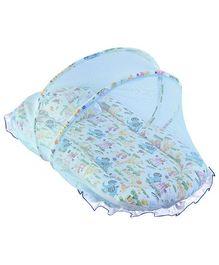 Babyhug Animal Print Jumbo Frilled Bedding Set With Canopy Mosquito Net -  Blue