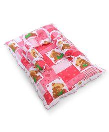 Babyhug Teddy Print Baby Bedding Set - Red