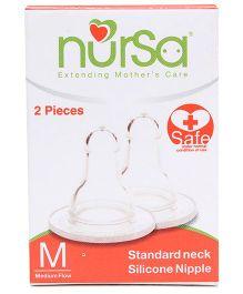 Nursa Standard Neck Silicone Medium Nipple - Set of 2