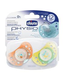 Chicco Silicone Soother Physio Air Orange and Yellow - Pack of 2