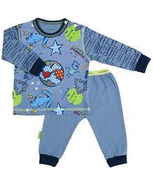 Kushies Baby Blue Printed T Shirt And Legging