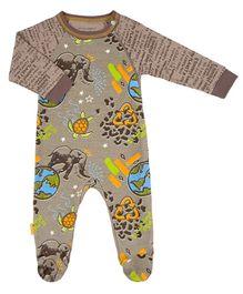 Kushies Baby Mocha Graffiti Print Sleep Suit Romper