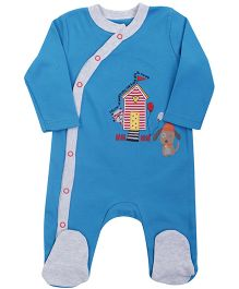 FS Mini Klub Sleepsuit House Patch And Embroidery - Blue