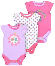 FS Mini Klub Cap Sleeves Multi Print Onesies - Pack Of 3
