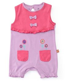 FS Mini Klub Sleeveless Romper With Bow And Patch Pockets - Purple