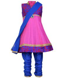 SAPS Pink Sleeveless Kurta And Chudidaar Set With Dupatta
