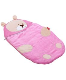 Sapphire Pink Teddy Applique Sleeping Bag