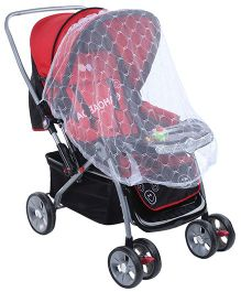 Baby Pram Cum Stroller with Mosquito Net and Play Tray - Red