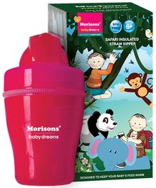 Morisons Baby Dreams Safari Insulated Straw Sipper Pink - 120 ml