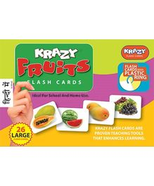 Krazy Fruits Hindi Flash Cards With Plastic Ring - 26 Large Flash Cards