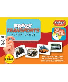 Krazy Transports Hindi Flash Cards With Plastic Ring - 26 Large Flash Cards