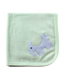 Child World Baby Towel Elephant Print - Light Green