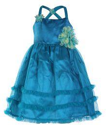 Peaches Singlet Peacock Blue Ruffle Dress