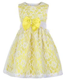 Peaches Sleeveless Net Party Frock - Yellow N White