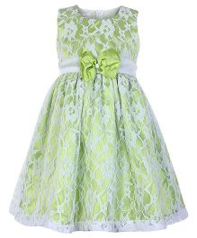 Peaches Sleeveless Net Party Frock - Green N White