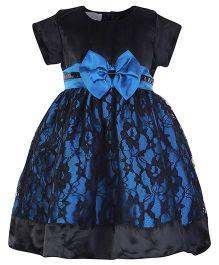 Peaches Half Sleeves Self Flower Design Net Party Frock - Black N Blue