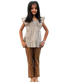 ShopperTree Brown Frill Sleeves Top With Turn Up Trouser