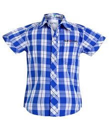 Palm Tree Blue Half Sleeves Check Print Shirt