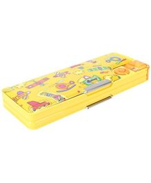 H M Magnetic Pencil Box Yellow - Helicopter Print