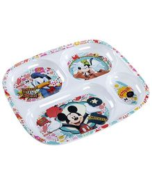 Mickey Mouse And Friends Cartoon Character Print Section Plate - White