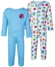 Morisons Baby Dreams Blue Full Sleeves T Shirt And Leggings - Set Of Two