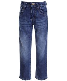 Papple Straight Fit Wash Jeans With Whiskers - Blue