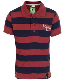 Papple Half Sleeves Polo T Shirt - Red And Navy