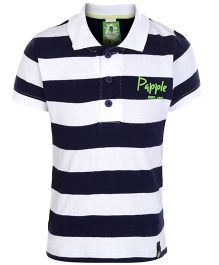 Paaple Half Sleeves Striped Polo T-Shirt - Navy & White
