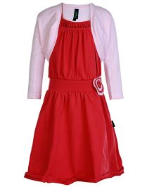 Papple Singlet Frock With Shrug - Red