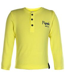 Paaple Full Sleeves Plain T Shirt - Yellow