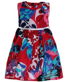 Paaple Sleeveless Frill Frock Printed - Multi Color