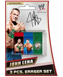 WWE 3 Pieces Eraser Set John Cena Theme