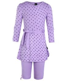 Papple Full Sleeves Top With Capri Polka Dots Print - Purple