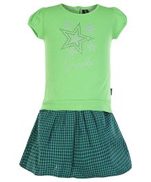 Papple Star Print Shorts Sleeves Top And Skirt - Green