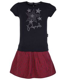 Papple Star Print Shorts Sleeves Top And Skirt - Black & Red