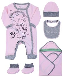 Paaple Infant Clothing Set Pack of 5 - Pink Grey