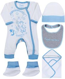 Papple Multipieces Romper Set - Pastel Blue & Off White
