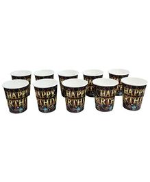 Paper Cups Happy Birthday Printed Black  - Pack of 10